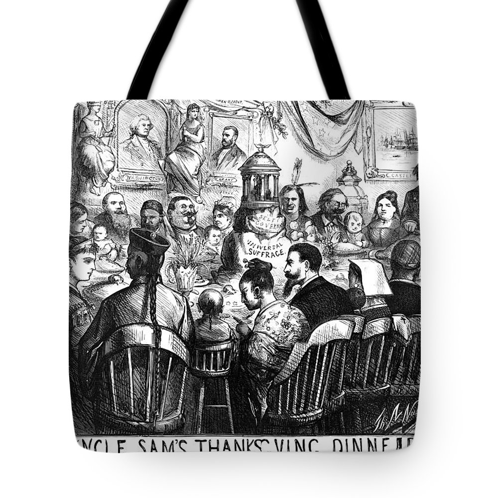 1869 Tote Bag featuring the photograph Immigration Cartoon, 1869 by Granger