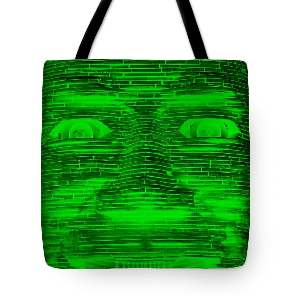 Architecture Tote Bag featuring the photograph In Your Face In Negative Green by Rob Hans