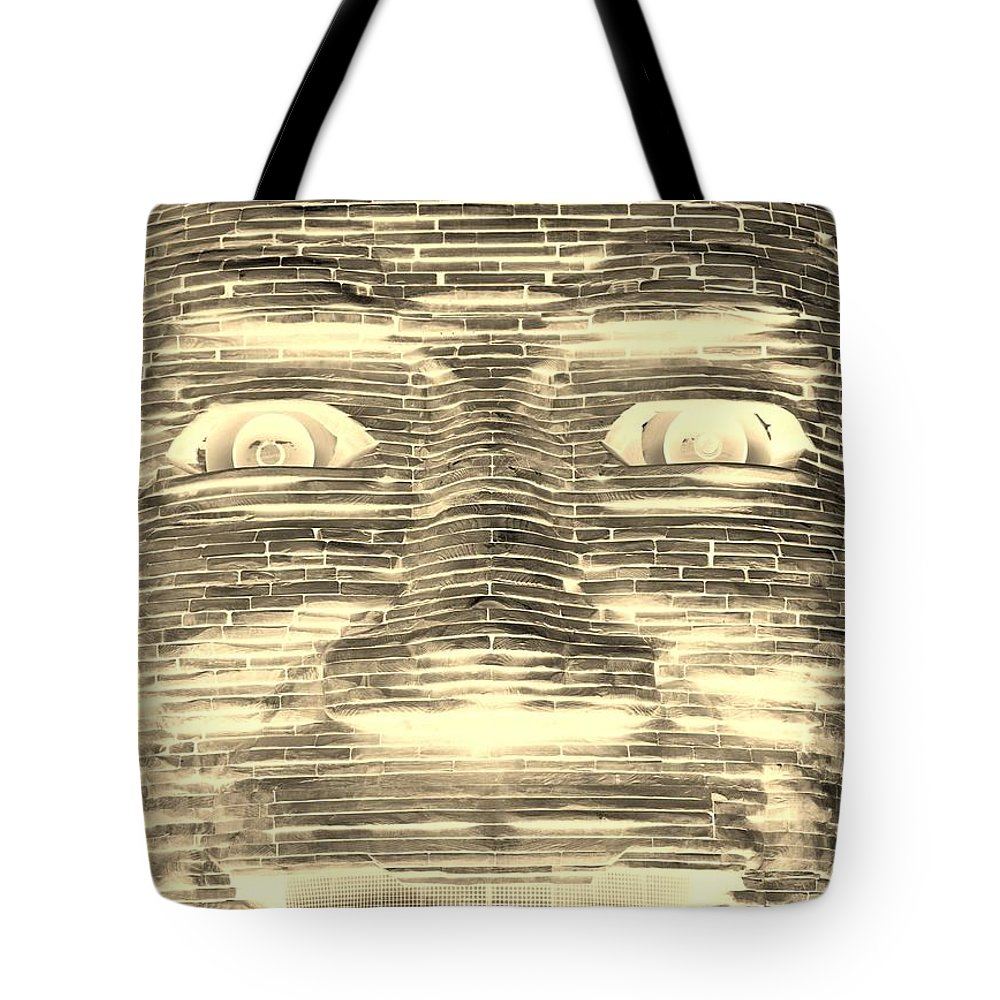 Architecture Tote Bag featuring the photograph In Your Face In Negative Sepia by Rob Hans
