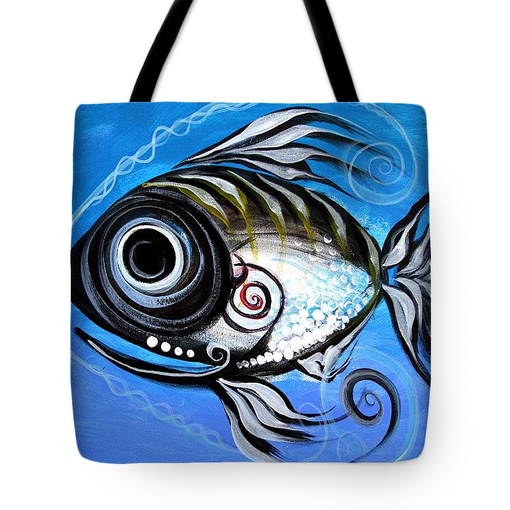 Fish Paintings Tote Bag featuring the painting Industrial Goddess by J Vincent Scarpace