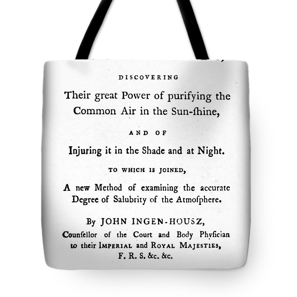 1779 Tote Bag featuring the photograph Ingenhousz Title-page, 1779 by Granger