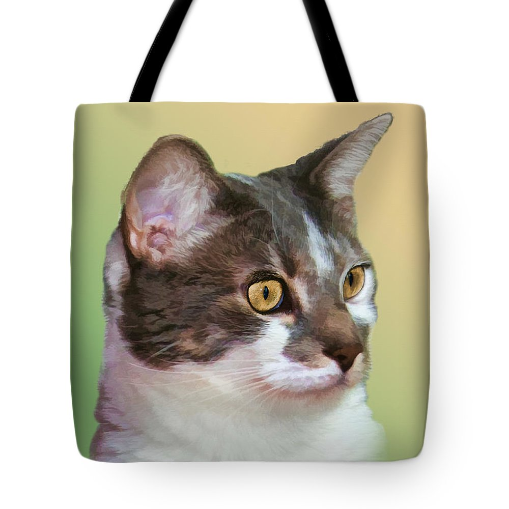Cats Tote Bag featuring the photograph Inquisitive Cat by Delores Knowles