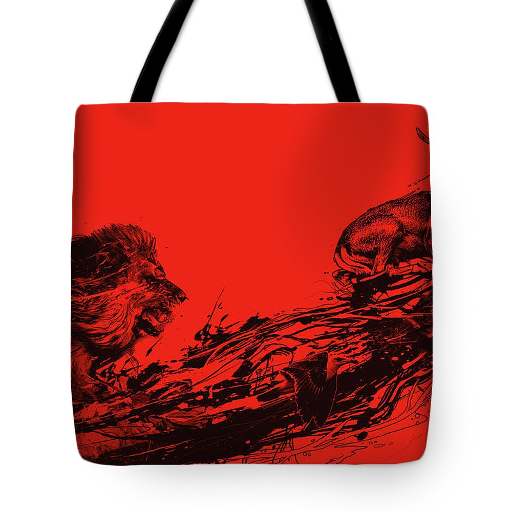 Lion Tote Bag featuring the digital art Intense Chasing by Nicebleed