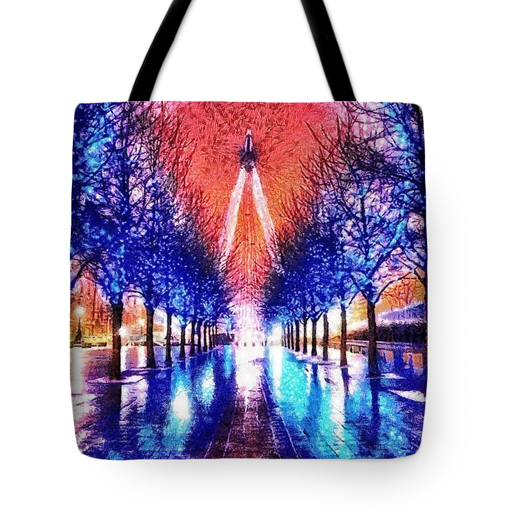 Into The Eye Tote Bag featuring the painting Into The Eye by Mo T