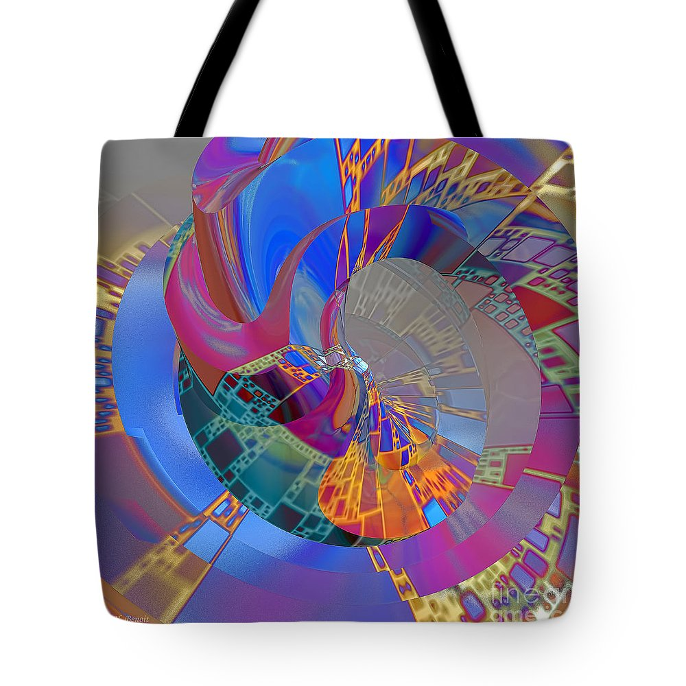 Abstract Tote Bag featuring the digital art Into The Inner World by Deborah Benoit