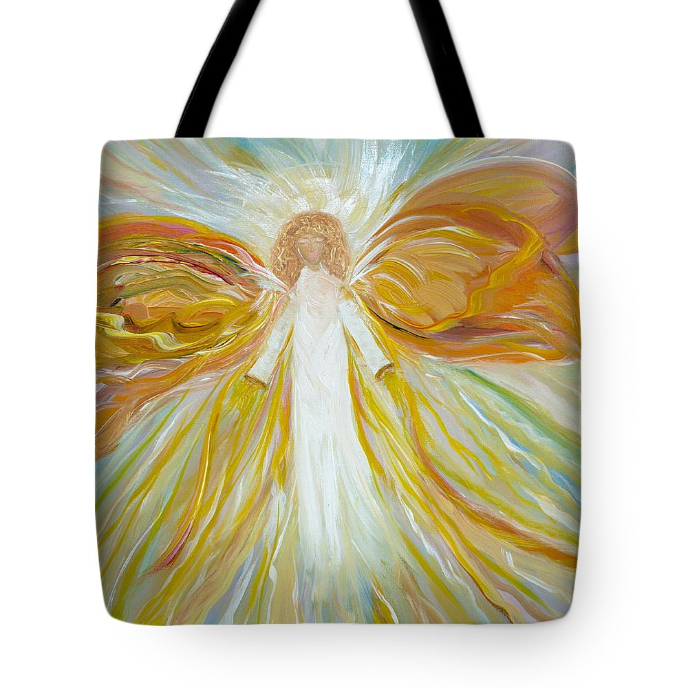 Angel Tote Bag featuring the painting Into The Light by Sara Credito