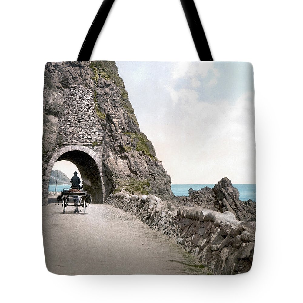 1890s Tote Bag featuring the photograph Ireland: Black Cave Tunnel by Granger