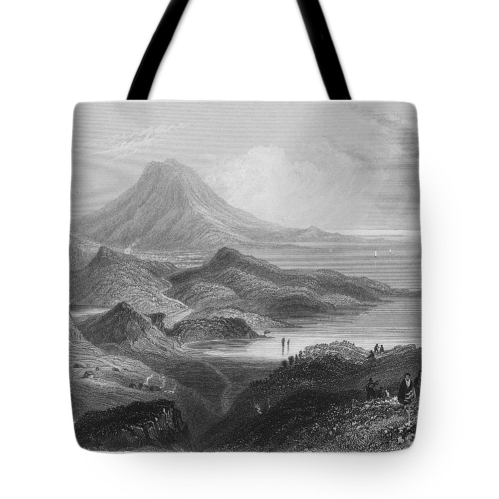 1840 Tote Bag featuring the photograph Ireland: Lough Conn, C1840 by Granger