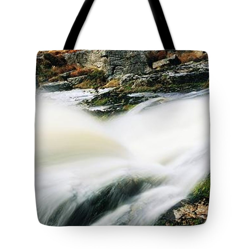 Cascading Tote Bag featuring the photograph Ireland Waterfall by The Irish Image Collection