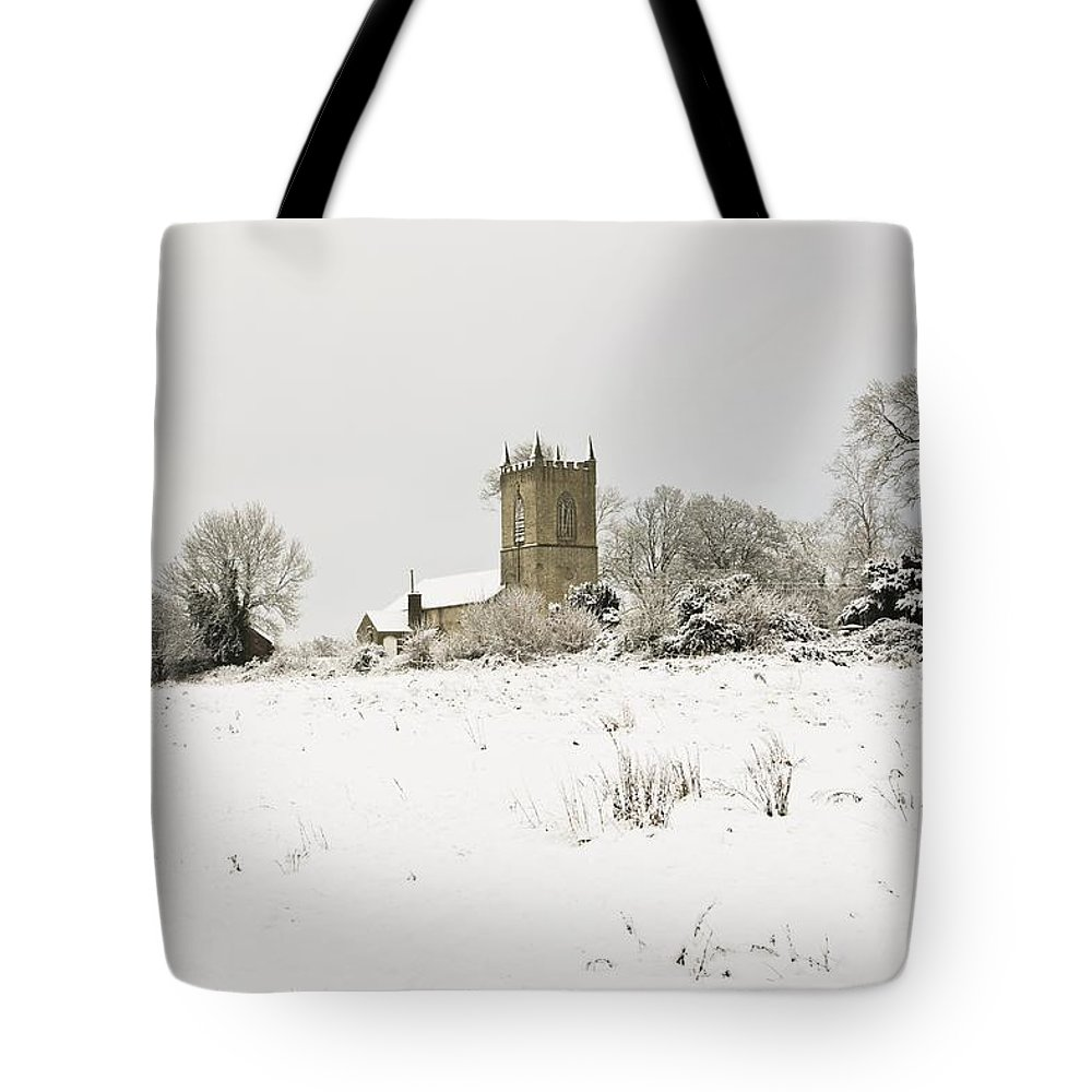 Cathedral Tote Bag featuring the photograph Ireland Winter Landscape With Church by Peter McCabe