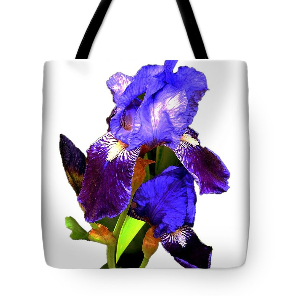 Flowers Tote Bag featuring the photograph Iris On White by Dale  Ford