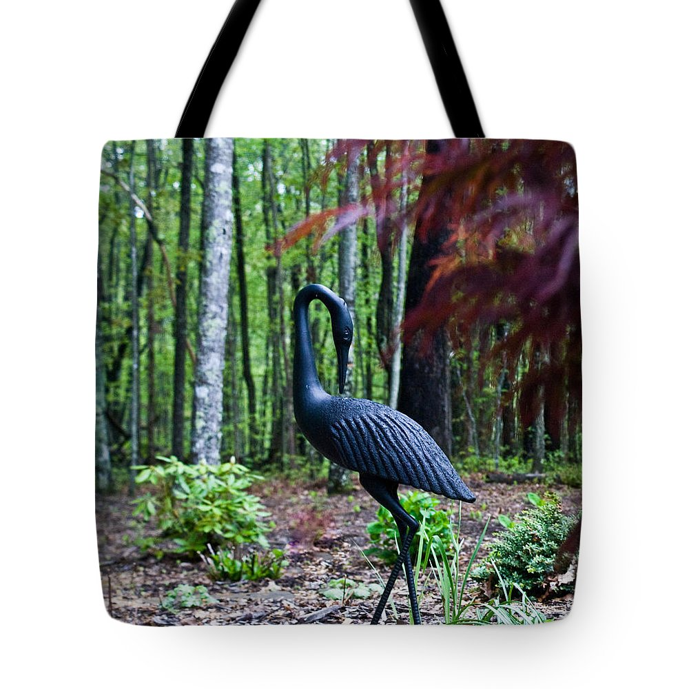 Iron Tote Bag featuring the photograph Iron Crane Poses 1 by Douglas Barnett