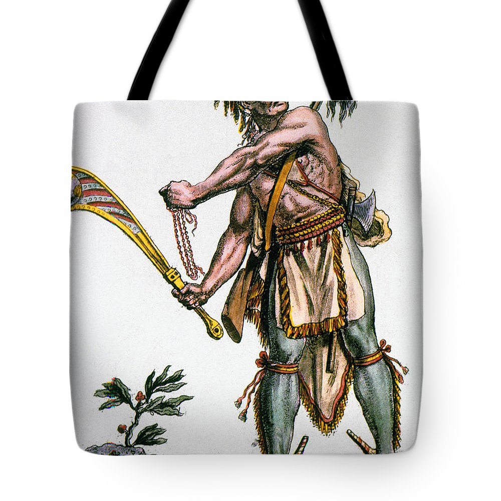 1787 Tote Bag featuring the photograph Iroquois Warrior by Granger