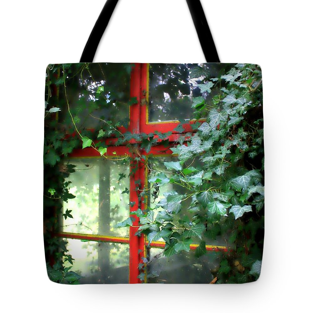 Window Tote Bag featuring the photograph Ivy Embrace by Carol Groenen