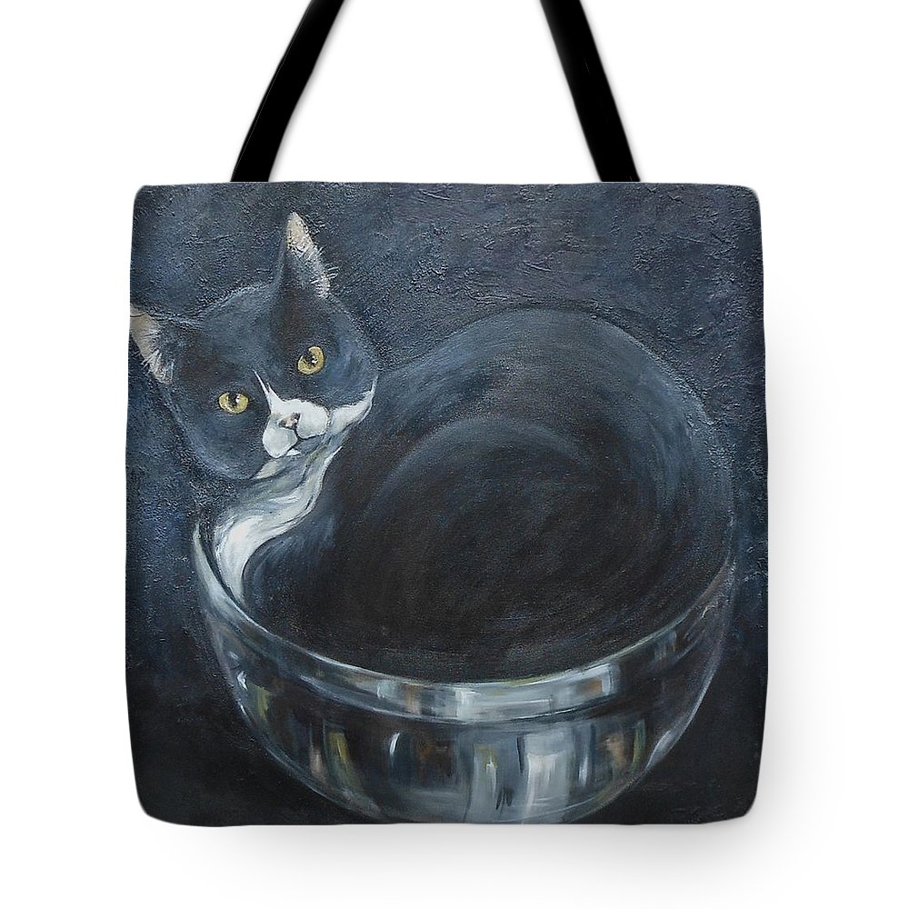 Domestic Cat Tote Bag featuring the painting Jack-in-the-bowl by Mo