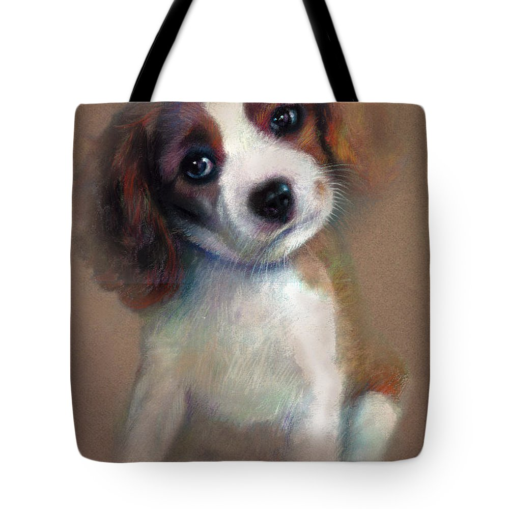 Jack Russell Terrier Dog Tote Bag featuring the pastel Jack Russell Terrier Dog by Ylli Haruni