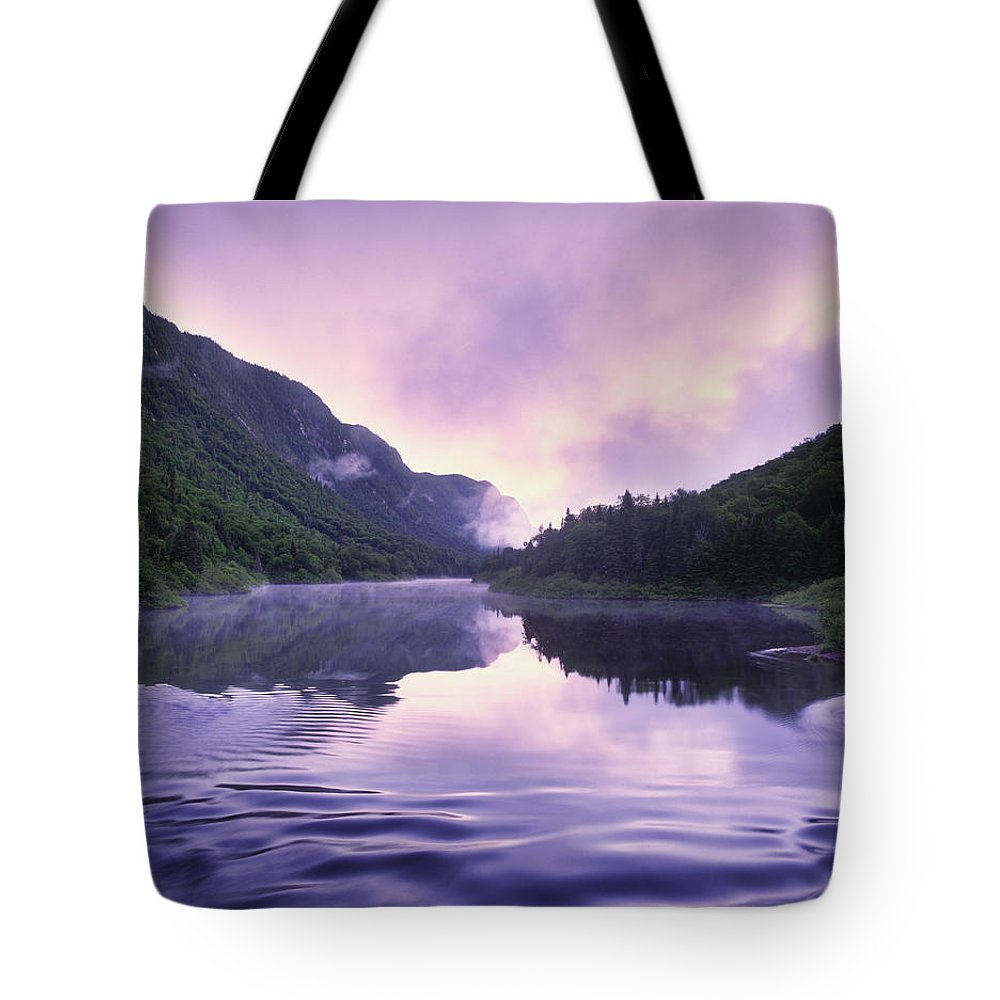Dawn Tote Bag featuring the photograph Jacques-cartier River And Mist At Dawn by Yves Marcoux