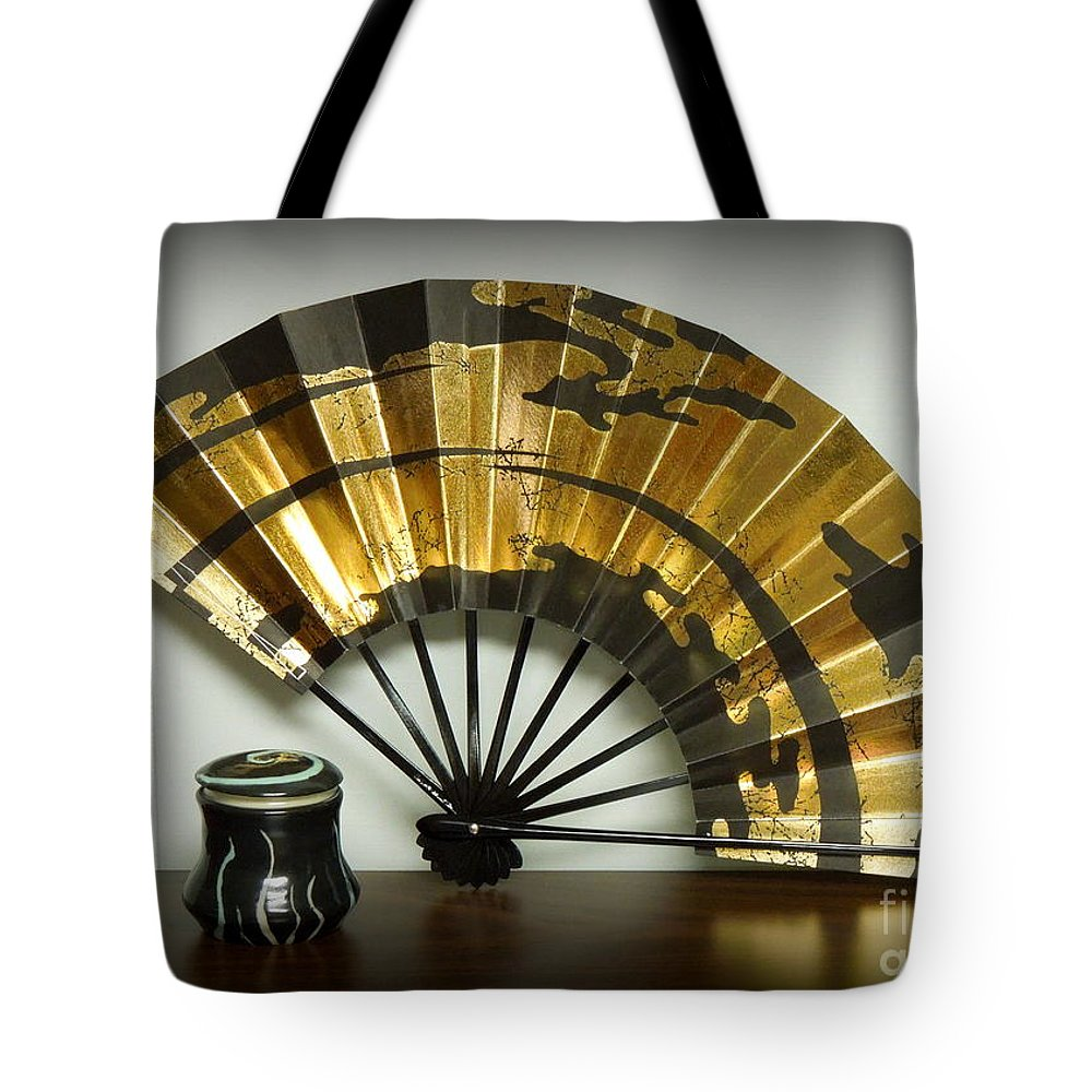 Fan Tote Bag featuring the photograph Japanese Fan And Pot by Renee Trenholm