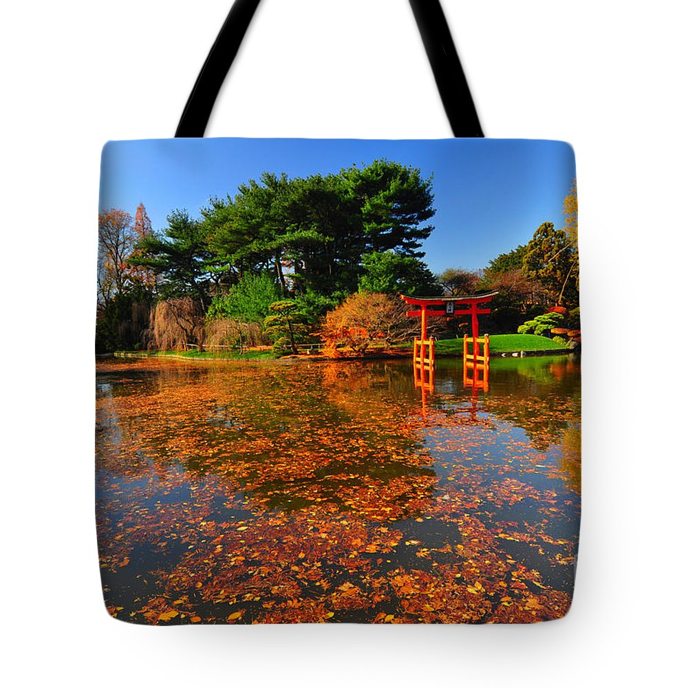 Bbg Tote Bag featuring the photograph Japanese Garden Brooklyn Botanic Garden by Mark Gilman