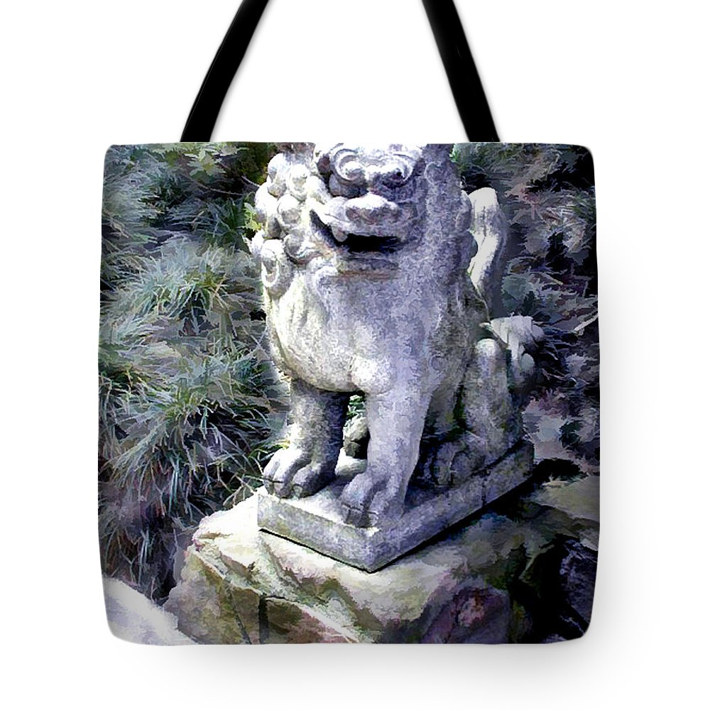 Japanese Garden Tote Bag featuring the painting Japanese Garden Lion Dog Statue 1 by Elaine Plesser