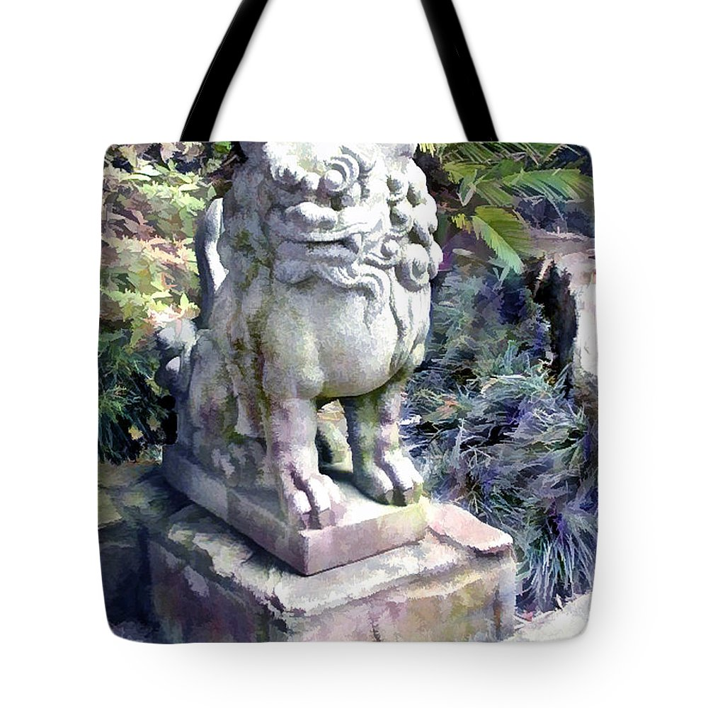 Japanese Garden Tote Bag featuring the painting Japanese Garden Lion Dog Statue 2 by Elaine Plesser