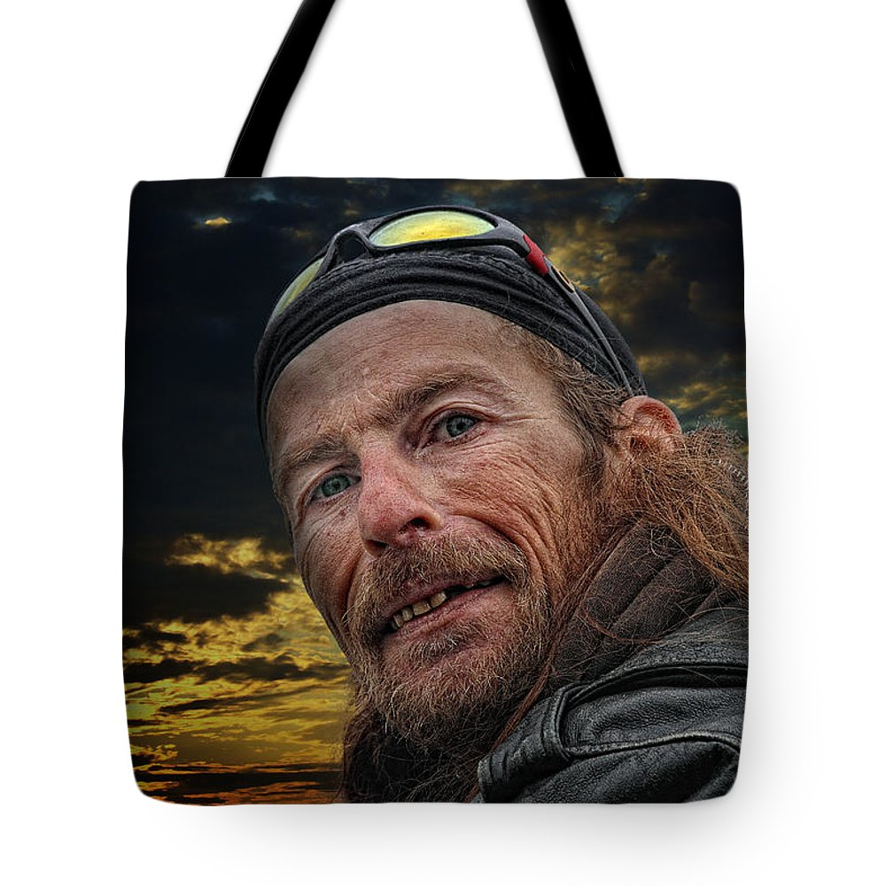 Portrait Portraits Tote Bag featuring the photograph Jeff On The Bridge by John Herzog