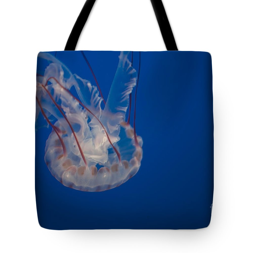 Aquarium Tote Bag featuring the digital art Jellyfish by Carol Ailles