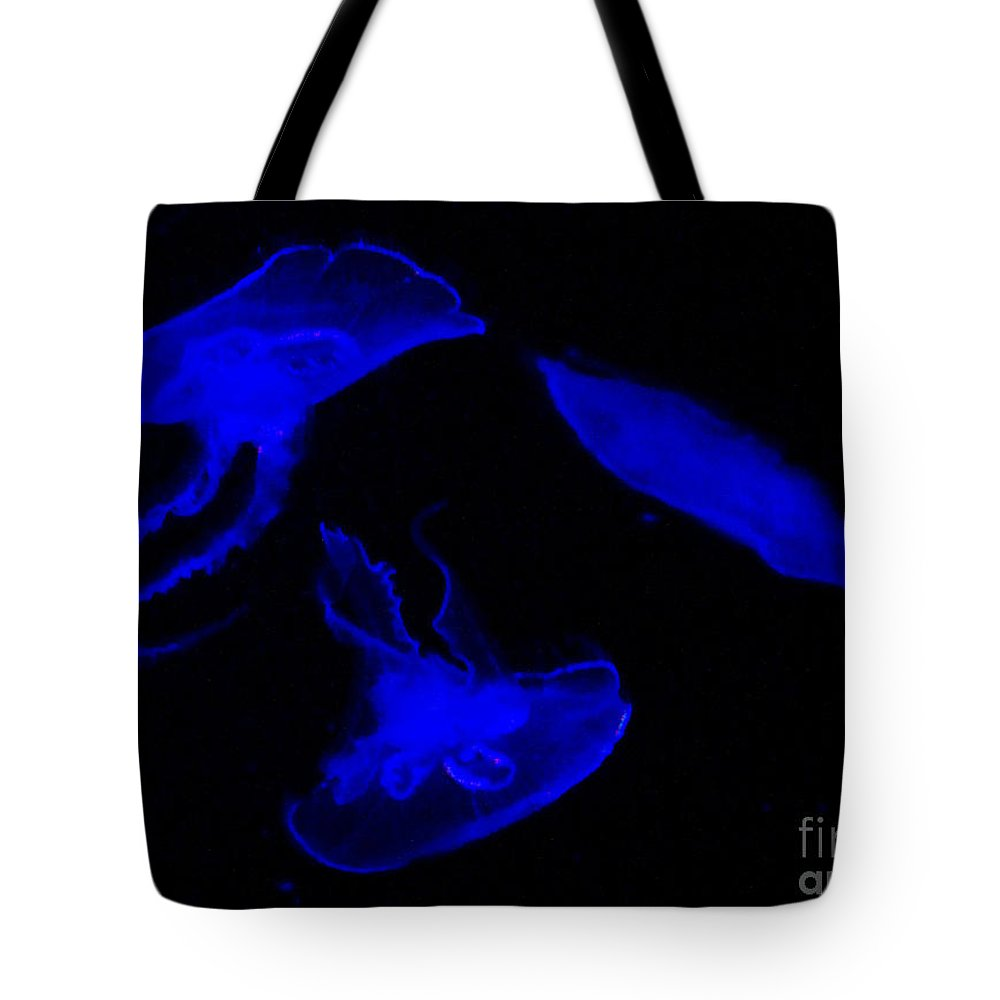 Blue Tote Bag featuring the photograph Jellyfish by Peggy Starks