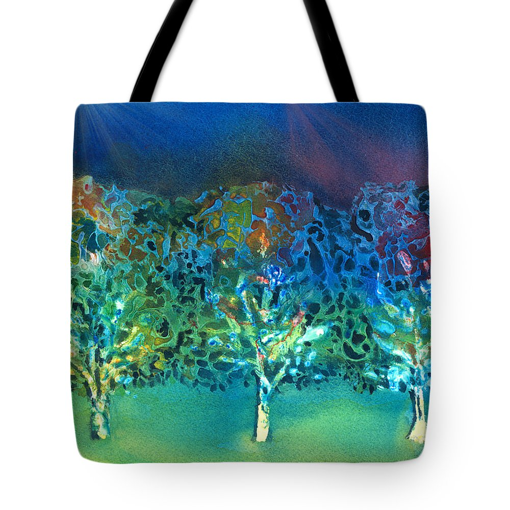 Tree Tote Bag featuring the mixed media Jeweled Trees by Arline Wagner