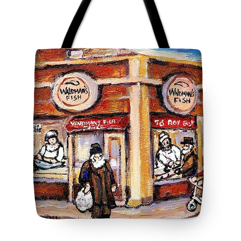 Jewish Montreal Art Tote Bag featuring the painting Jewish Montreal Vintage City Scenes Fish Market On Roy Street by Carole Spandau