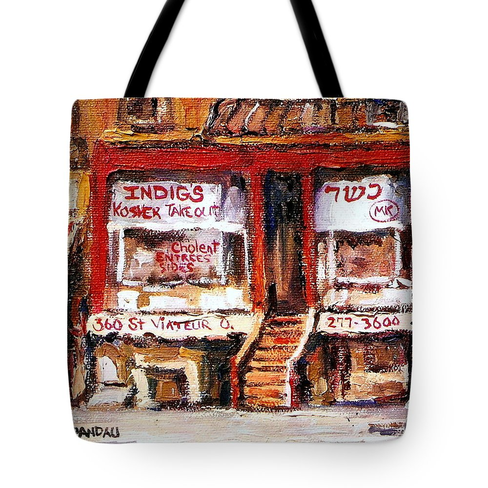 Jewish Montreal Art Tote Bag featuring the painting Jewish Montreal Vintage City Scenes Indigs Kosher Butcher by Carole Spandau