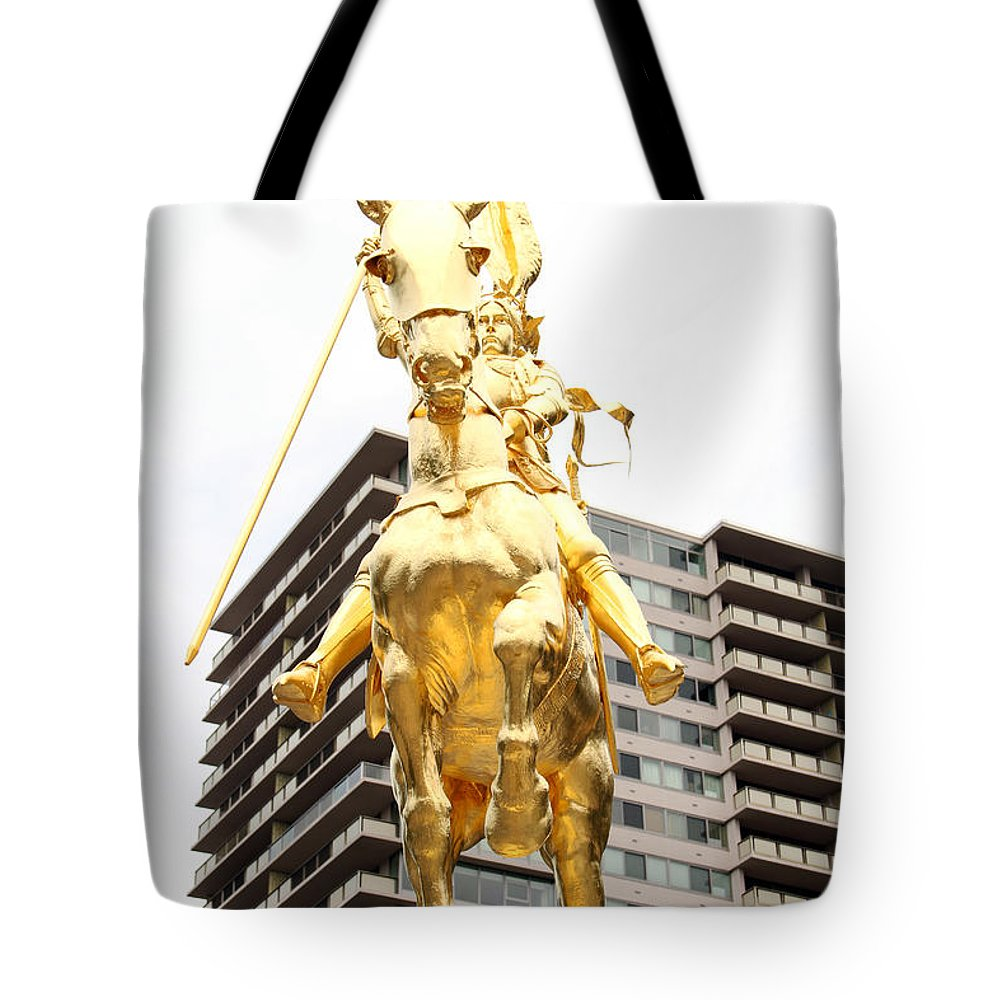 Joan Of Arc Philadelphian On The Parkway Philadelphia Horse Statue Gold Tote Bag featuring the photograph Joan Of Arc by Alice Gipson