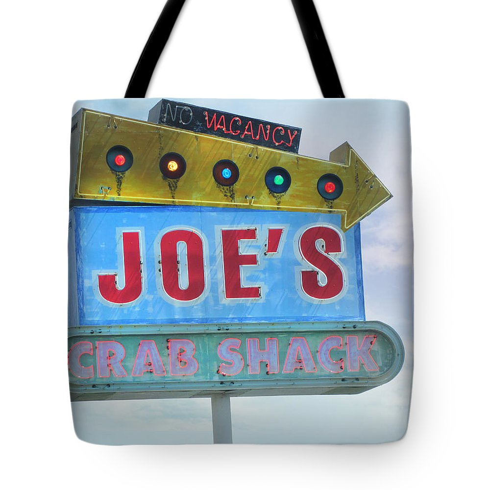 Roadside Signs Tote Bag featuring the photograph Joe's Crab Shack Retro Sign by Kathleen Grace