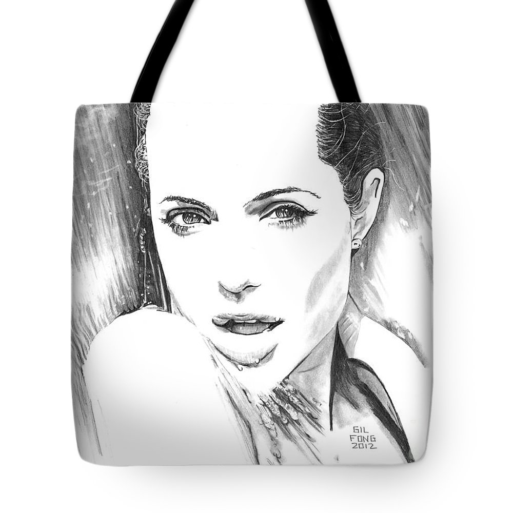 Angelina Jolie Tote Bag featuring the drawing Jolie Waterfall by Gil Fong