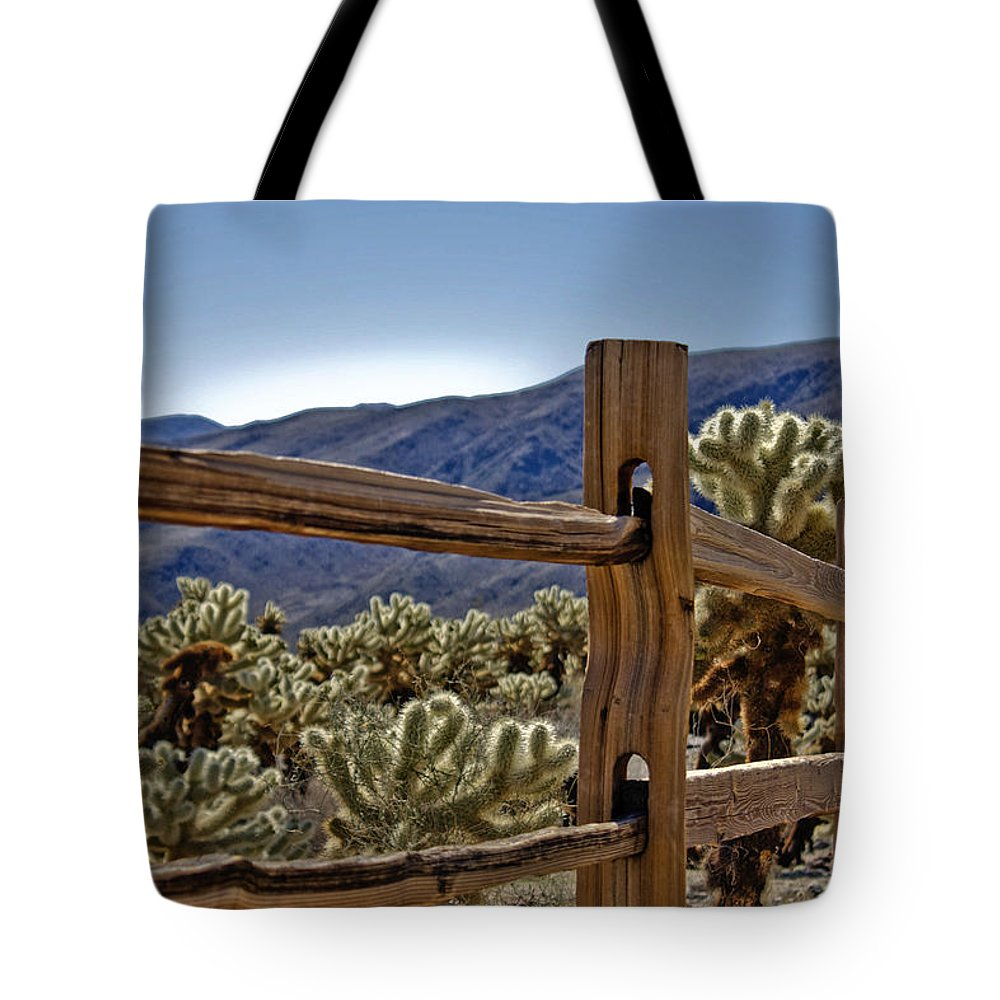 Cactus Tote Bag featuring the photograph Joshua Tree Cholla Garden by Linda Dunn