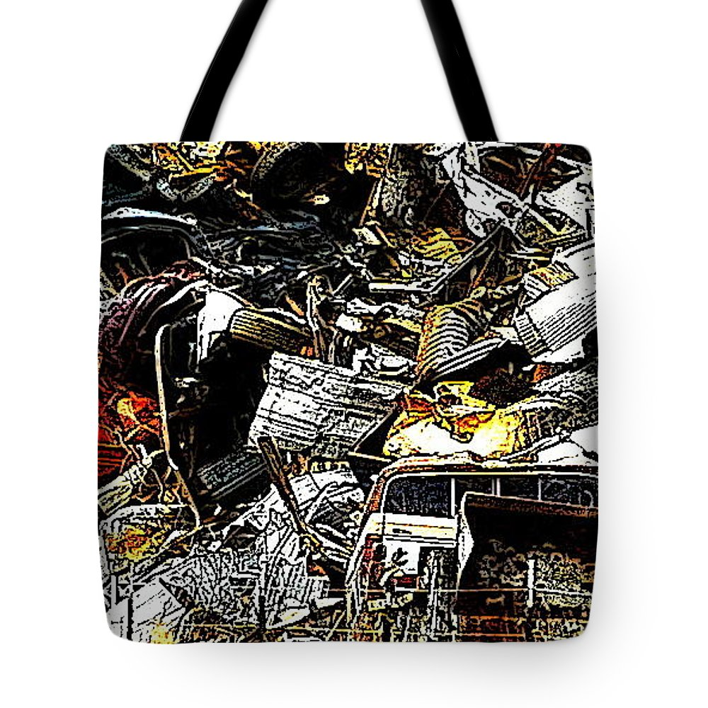 Junked Cars Tote Bag featuring the photograph Junky Treasure 2 by Lydia Holly
