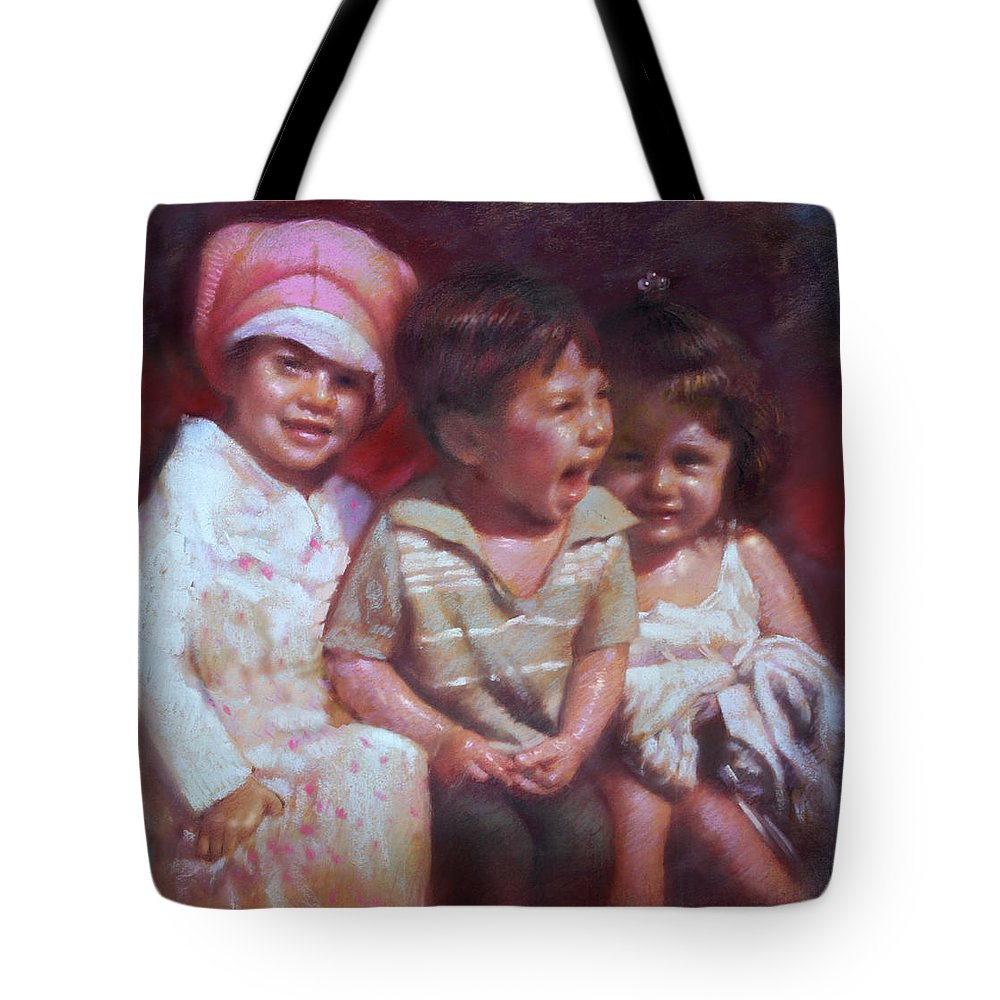 Children Tote Bag featuring the pastel Just Say Cheese by Ylli Haruni