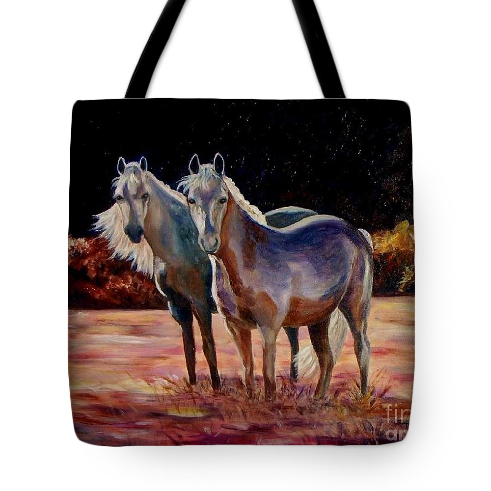 Horses Tote Bag featuring the painting Just Who Are You by Julie Brugh Riffey
