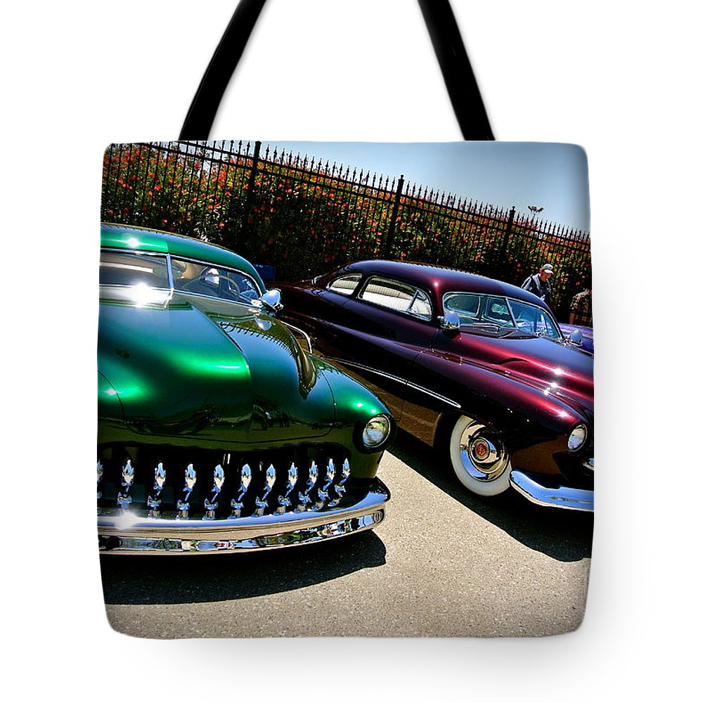 Mercury Tote Bag featuring the photograph Kandy Apple Merc's by Customikes Fun Photography and Film Aka K Mikael Wallin