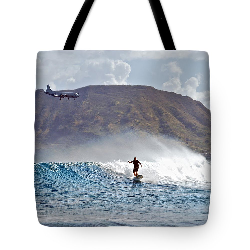 Ocean Tote Bag featuring the photograph Kaneohe Bay Sufer Mcbh by Michael Peychich