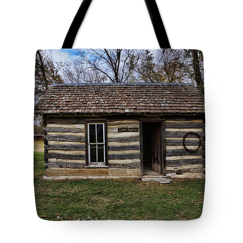 Kansas Tote Bag featuring the photograph Kansas Log Cabin by Alan Hutchins