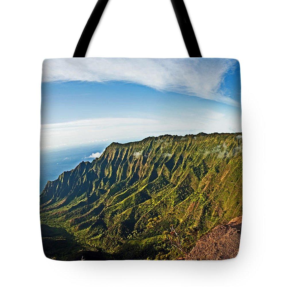 Kauai Tote Bag featuring the photograph Kaulalu Panorama by Roger Mullenhour