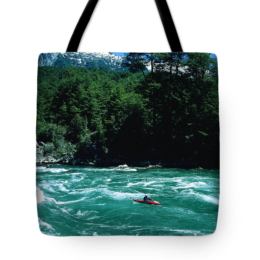 South America Tote Bag featuring the photograph Kayaker Surfing Terminator Rapid Waves by Skip Brown