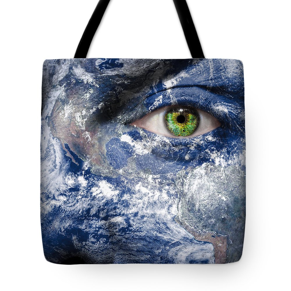 Blue Tote Bag featuring the photograph Keep An Eye On The World by Semmick Photo