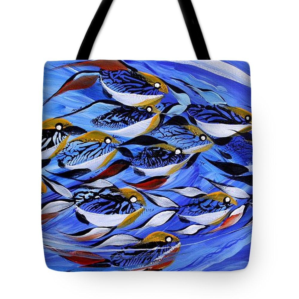 Fish Tote Bag featuring the painting Keep It Together by J Vincent Scarpace