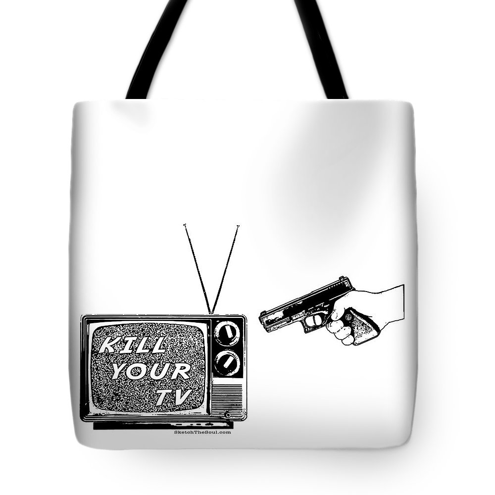 Television Tote Bag featuring the mixed media Kill Your Tv by Tony Koehl