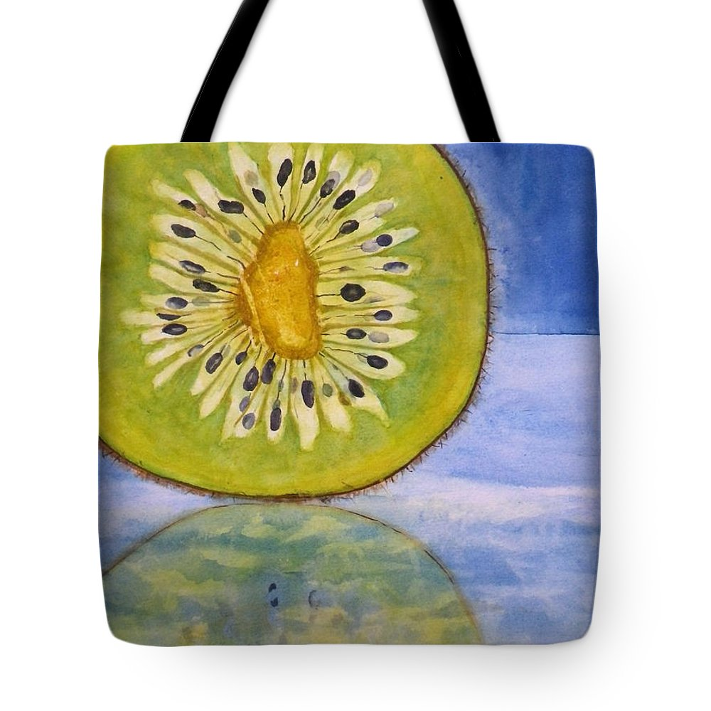 Kiwi Fruit Tote Bag featuring the painting Kiwi Reflection by Anna Ruzsan