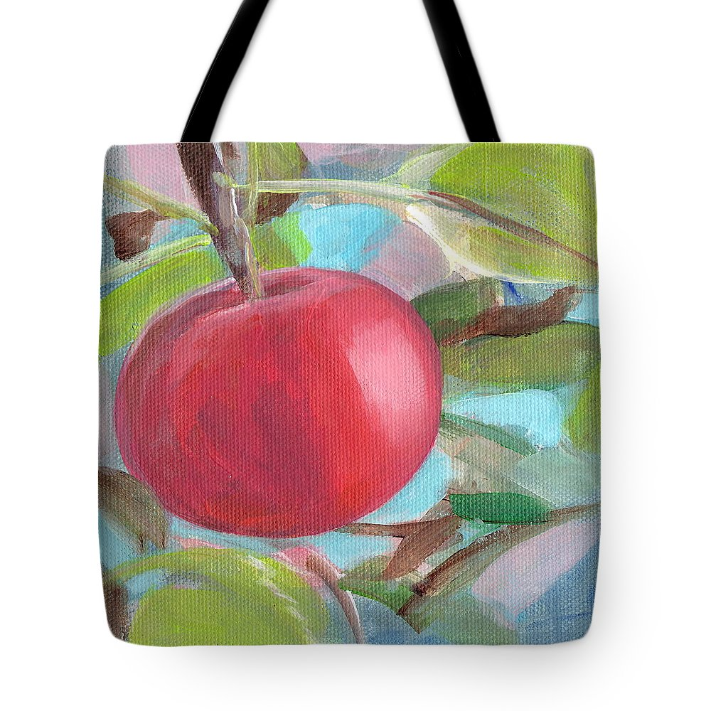 Red Tote Bag featuring the painting Kogyoku Apple by Kazumi Whitemoon