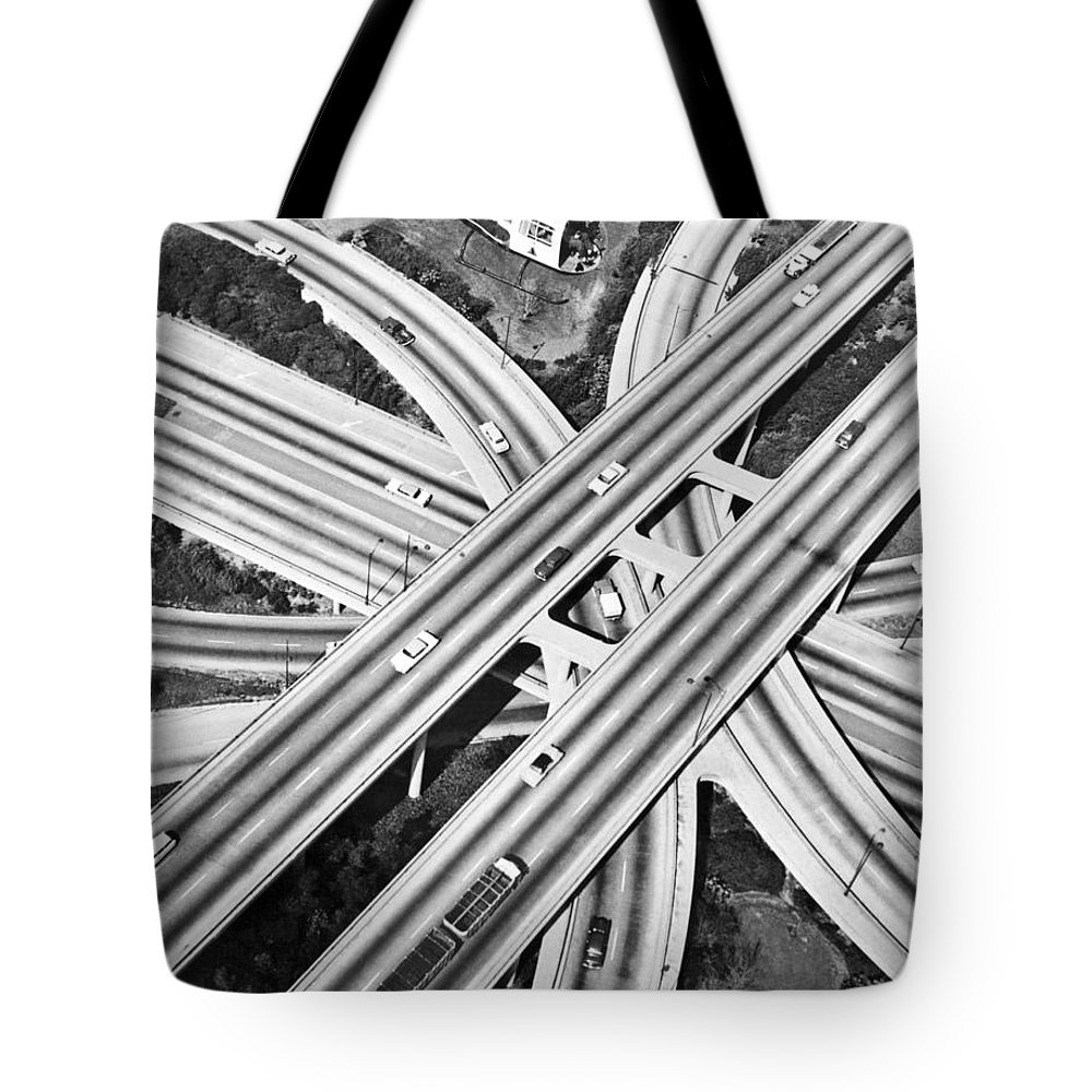 1960's Tote Bag featuring the photograph La Freeway Interchange by Underwood Archives