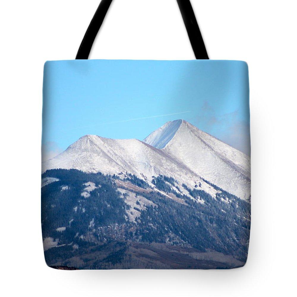 La Sal Tote Bag featuring the photograph La Sal Mountains 111 by Pamela Walrath